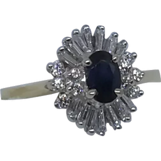 Sapphire and Diamond Ring  white and yellow gold.