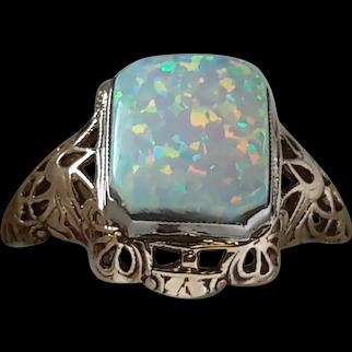 10 Karat   white  gold Fire Opal