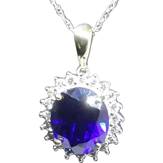 10 Karat gold Diamond and Sapphire  necklace