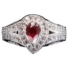 14 Karat White Gold Diamond and Colombian  Ruby Ring
