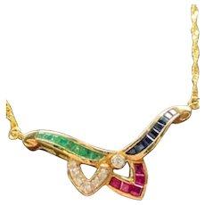 18 Karat Yellow gold Emerald , Ruby , Sapphire , and Diamond Necklace .