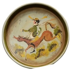 Vintage Whimsical Tole Painted Tray Signed by Artist Horse and Rider