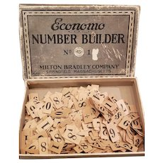Very Early Milton Bradley Economo Number Builder Original Box