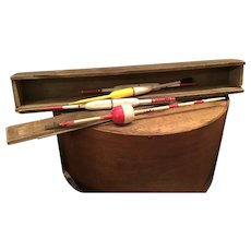 Wooden Box Sliding Lid with Four Wooden Fishing Bobbers