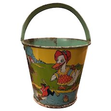 Early Stover Candy Container Tin Litho Pail Frog and Ducks Tiny Bucket