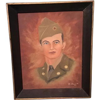 Original Signed Painting Post WWll PFC Shumate Roanoke VA