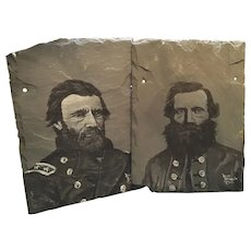 Set of Two Paintings on Slate by Randy Battaglia Ulysses S Grant Stonewall Jackson Civil War