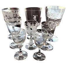 Lot of Glasses Set of 8 c.1840-80 Hand Blown Boston Sandwich Engraved
