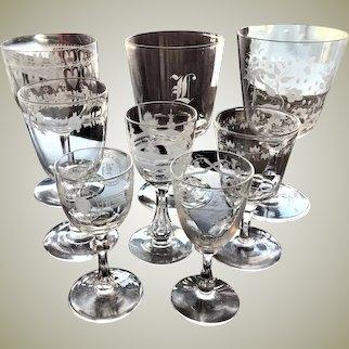 Lot of Glasses Set of 8 c.1840-80 Hand Blown Boston Sandwich Engraved