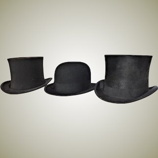 Lot of Hats - Top Hat - Bowler Hat - Seal Silk and Wool 1870-1920 Set of Three VICTORIAN