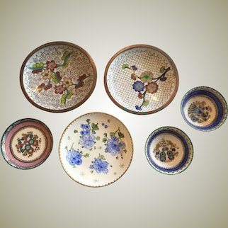 Lot of Enameled Dish Cloisonne Copper Made in China and Austria VINTAGE  Set of Six Handmade