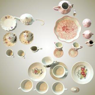 Lot of Child's Tea Set 34 PIECES  c.1880-1920  Doll House Tea Set - Toy Tea Set VICTORIAN Hand Painted Gold Enameled