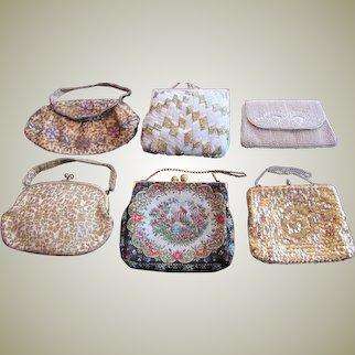 Lot of Purse Handbag Clutch Purse Evening Bag VINTAGE France Belgium Japan Set of Six