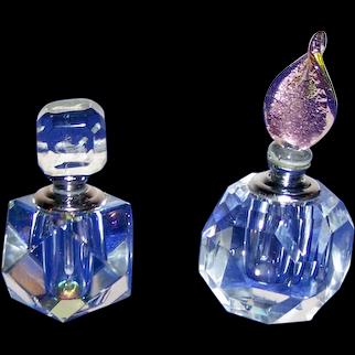 (2) Nice Art Glass Crystal Perfume Bottles