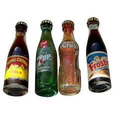 (4) Miniature Glass Soda Bottles