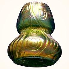 Loetz/Kralik Iridescent Green Cabinet Art Glass Vase