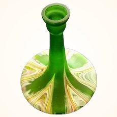 Loetz/Kralik Green Satin Marbled Art Glass Vase