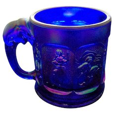 Imperial Glass Blue Cobalt Nursery Rhyme Mug/Cup