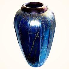 Gorgeous Large Blue Iridescent Art Glass Vase