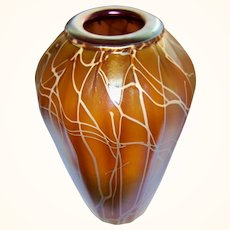 Beautiful Gold/Brown Iridescent Abelman Art Glass Vase