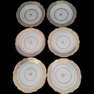 Set Six John Rose Coalport Porcelain Dessert Plates Gilt Ellipse & Dot c 1790