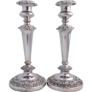 Large Pair Silver Plated Candlesticks 32 cms Silver on Copper Antique c 1890