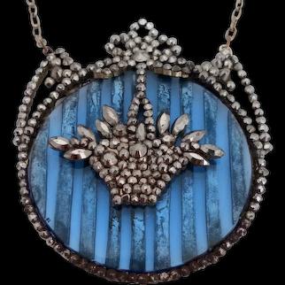 Regency Cut Steel Pendant Necklace Blue Glass Back Basket Design Antique c 1820