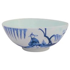 Bow Porcelain Fisherman and Cross Legged Chinaman Bowl 20 cm circa 1750