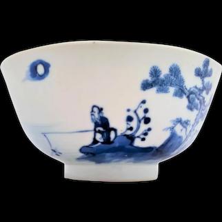 Chinese Porcelain Bowl Jiang Taigong Bleu de Hue Antique Qing 清代 19th C
