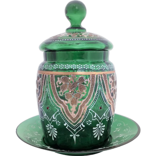 Green Glass Biscuit Barrel Stand Enamelled Gilded Jewelled Antique Victorian Circa 1880