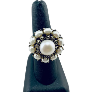 Freshwater Cultured Pearl Marcasite and Sterling Ring