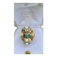 14k Gold Pearl and Diamond Vintage Ring