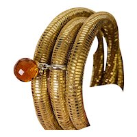 Gold Leather Bracelet with Citrine and Sterling Charm