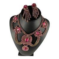 Pink Runway Rhinestone Necklace & Earrings