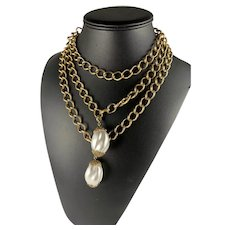 Multi Strand Chain Necklace with Faux Pearl Charms