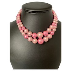 Double Strand Pink Faux Pearls