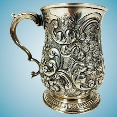 Antique Georgian 1772 English Sterling Repousse' Silver  Child's Christening Mug by William & James PRIEST
