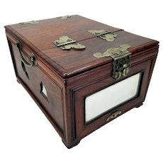 Antique Chinese Vanity Case Box with Drawers & Mirrors Beautifully Grained Wood