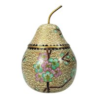 Vintage Chinese Asian Cloisonne Pear Shape Covered Box Caddy