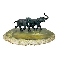 Large Antique Austrian Bronze Running Elephants on Green Onyx Base