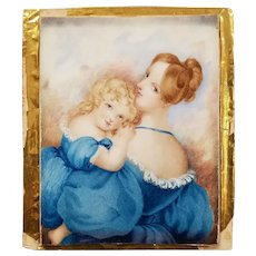 Early 19th Century Miniature Painting - Beautiful Woman with Young Girl c. 1830