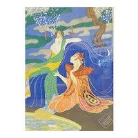 Signed Endre' Passano Art Deco Gouache Orientalist Painting
