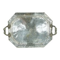 Antique Indian Colonial Silver Plate Tray with Engraved Animal Scenes