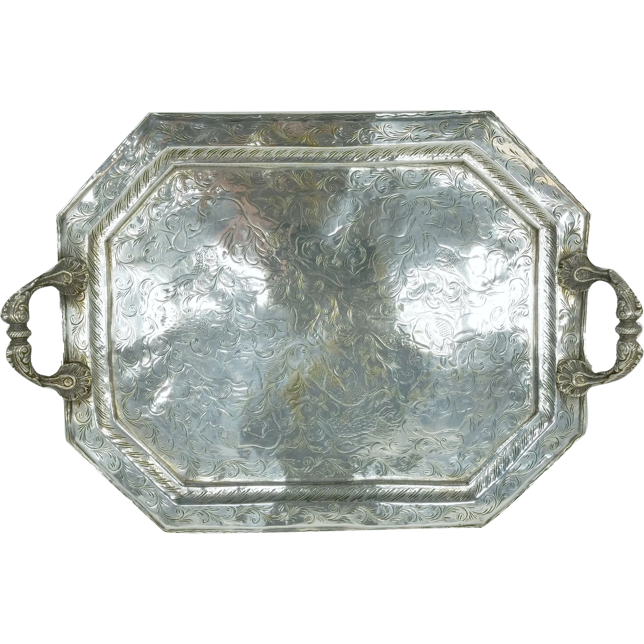 Antique Indian Colonial Silver Plate Tray With Engraved Animal Scenes Mason Antiques Ruby Lane
