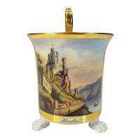 """Antique German """"RHEINSTEIN"""" Porcelain Cabinet Cup Hallmarked Hand Painted"""