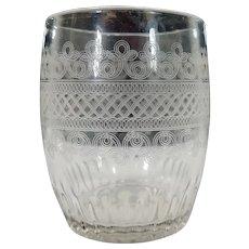 Vintage Hand Etched Glass Tumbler