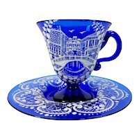 Antique Bohemian Czech Art Glass Enameled Cup & Saucer Hand Painted Cobalt Blue