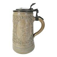 """Antique German Salt Glazed Stein Pewter Lid """"ZUM GEBURTSTAG"""" Happy Birthday"""