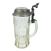 Antique German Stein Glass & Pewter Lid with Flying Swallows