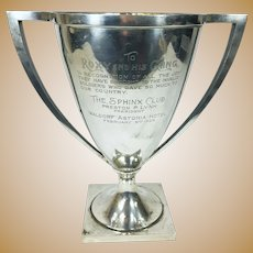 Large Antique 1926 Gorham Sterling Silver Trophy Sphinx Club Waldorf Astoria Hotel